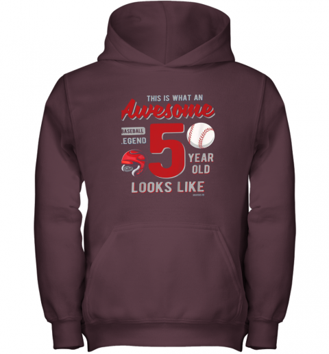 fuxn kids 5th birthday gift awesome 5 year old baseball legend youth hoodie 43 front maroon