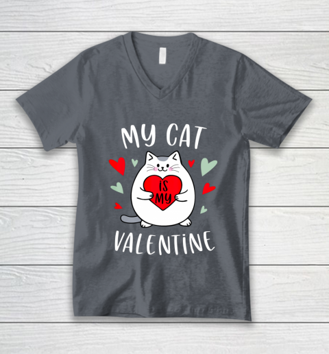 My Cat Is My Valentine Kitten Lover Heart Valentines Day V-Neck T-Shirt 4