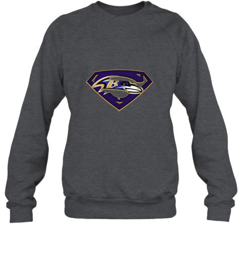 dt3p we are undefeatable the baltimore ravens x superman nfl sweatshirt 35 front dark heather