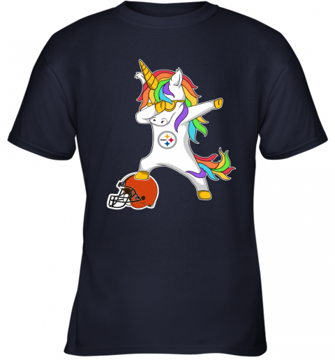 wbpf football dabbing unicorn steps on helmet pittsburgh steelers youth t shirt 26 front navy