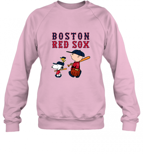 n3y6 boston red sox lets play baseball together snoopy mlb shirt sweatshirt 35 front light pink