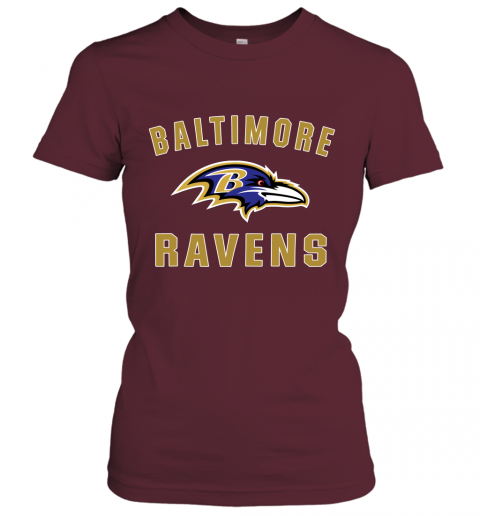 6fg8 mens baltimore ravens nfl pro line by fanatics branded gray victory arch t shirt ladies t shirt 20 front maroon