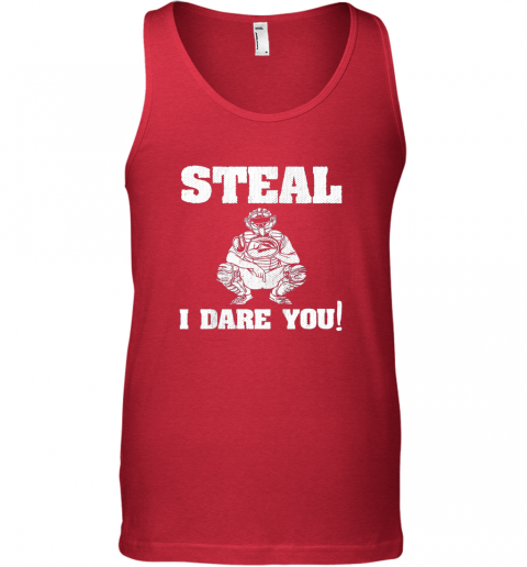 vfee kids baseball catcher gift funny youth shirt steal i dare you33 unisex tank 17 front red
