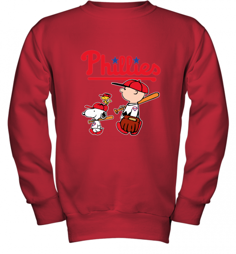 nses philadelphia phillies lets play baseball together snoopy mlb shirt youth sweatshirt 47 front red