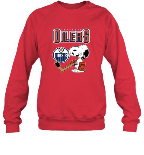 biud edmonton oilers ice hockey broken teeth snoopy nhl shirt sweatshirt 35 front red