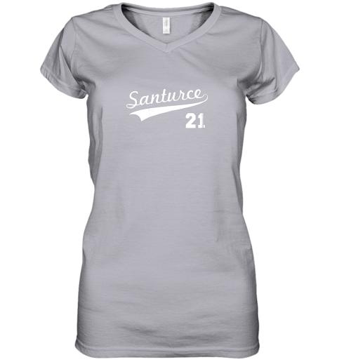 mxgk vintage santurce 21 puerto rico baseball women v neck t shirt 39 front sport grey