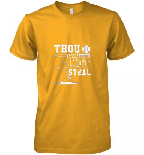 qjda funny baseball thou shall not steal baseball player premium guys tee 5 front gold