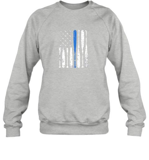 kazs thin blue line leo usa flag police support baseball bat sweatshirt 35 front sport grey