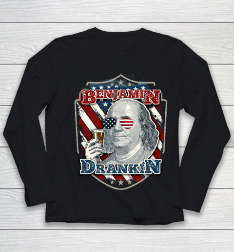 Beer Lover Funny Shirt Benjamin Drankin  Funny and Patriotic 4th of July Independence Day Youth Long Sleeve