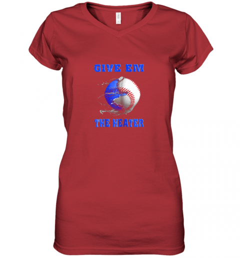 x4wn give em the heater baseball pitcher women v neck t shirt 39 front red