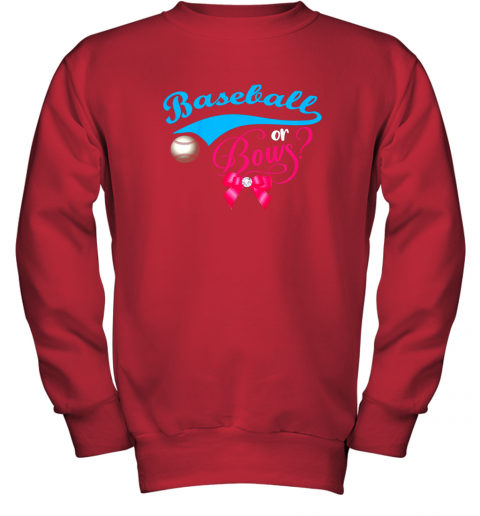 luzl cute baseball or bows gender reveal party youth sweatshirt 47 front red