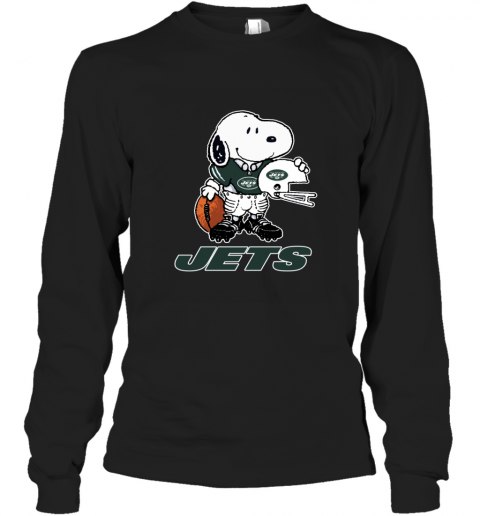 Snoopy A Strong And Proud New York Jets Player NFL Long Sleeve T-Shirt