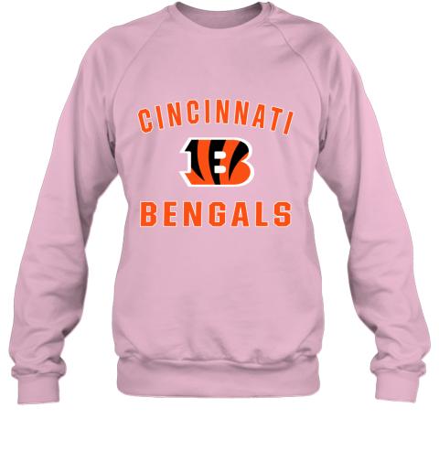 5onw cincinnati bengals nfl pro line gray victory sweatshirt 35 front light pink