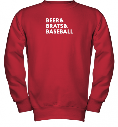 1y7g beer brats baseball summer ampersand list youth sweatshirt 47 front red