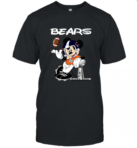 Mickey Bears Taking The Super Bowl Trophy Football Unisex Jersey Tee