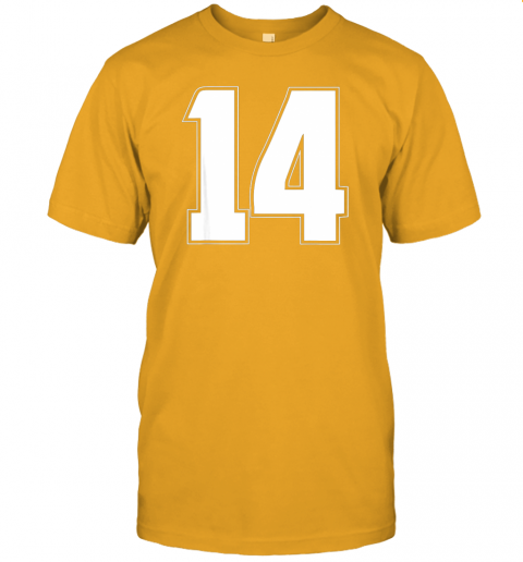 6114 halloween group costume 14 sport jersey number 14 14th bday jersey t shirt 60 front gold