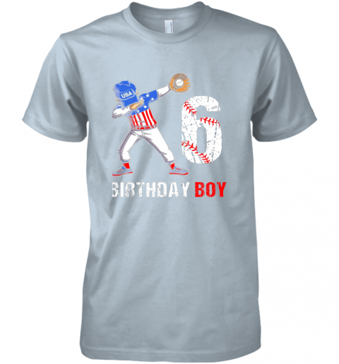 y2qy kids 6 years old 6th birthday baseball dabbing shirt gift party premium guys tee 5 front light blue