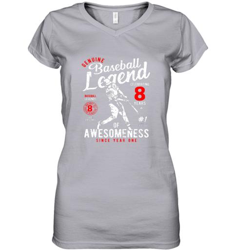 ulvx kids 8th birthday gift baseball legend 8 years women v neck t shirt 39 front sport grey