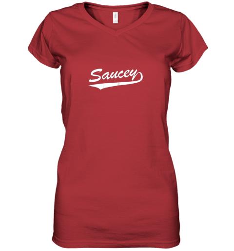 sgok saucey swag baseball women v neck t shirt 39 front red