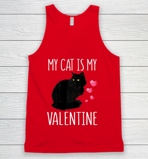 Black Cat Shirt For Valentine s Day My Cat Is My Valentine Tank Top 5