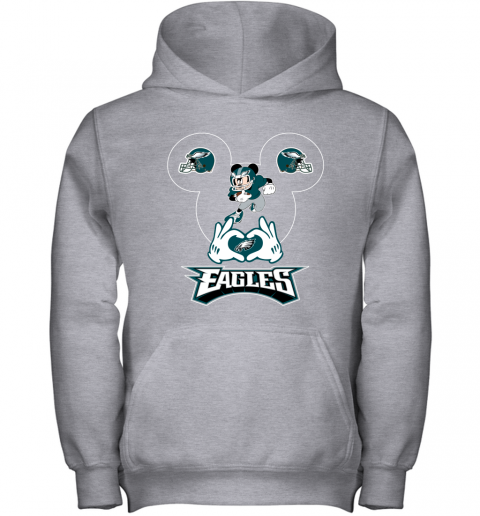 wom3 i love the eagles mickey mouse philadelphia eagles youth hoodie 43 front sport grey