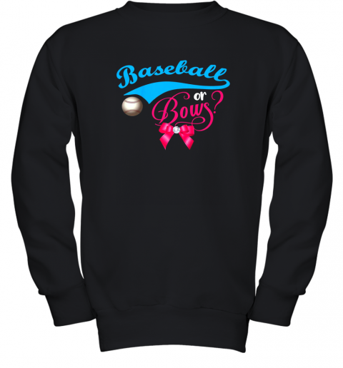 Cute Baseball or Bows Gender Reveal Party Youth Sweatshirt