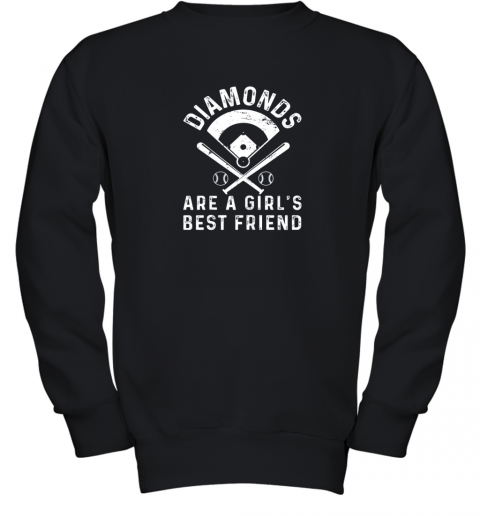 Diamonds are a Girl's Best Friend Baseball Youth Sweatshirt