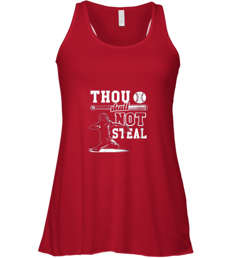 uym7 funny baseball thou shall not steal baseball player flowy tank 32 front red