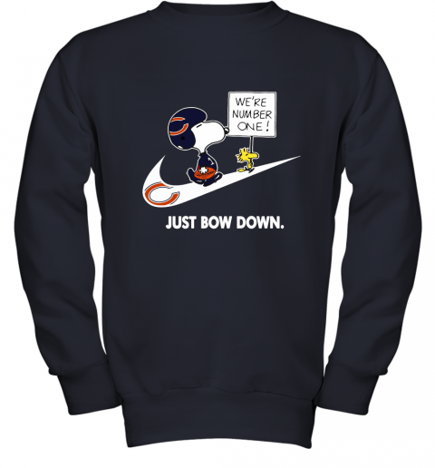 Chicago Bears Are Number One – Just Bow Down Snoopy Youth Sweatshirt