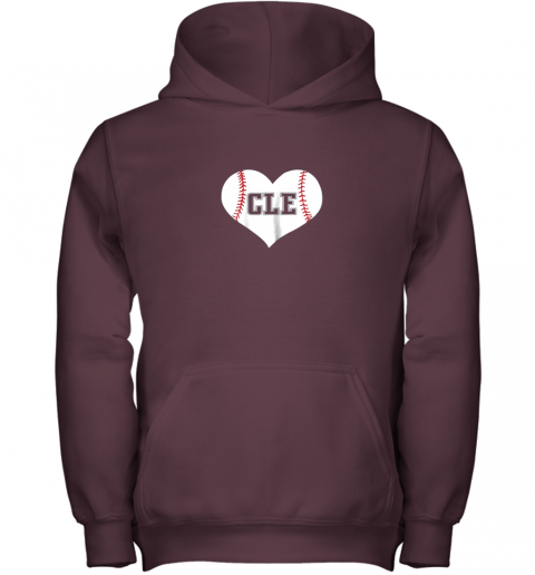 2q5b cleveland ohio baseball love heart cle gift jersey fan youth hoodie 43 front maroon
