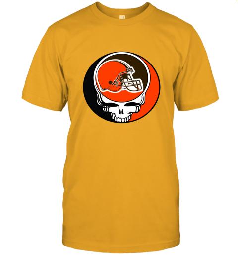 kdsp nfl team cleveland browns x grateful dead logo band jersey t shirt 60 front gold