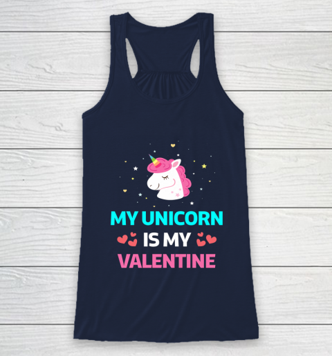 Funny Valentines Day Shirt Unicorn Is My Valentine Racerback Tank 8