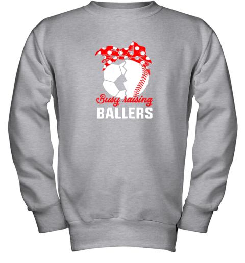 8dow busy raising a ballerfunny baseball soccer mom youth sweatshirt 47 front sport grey
