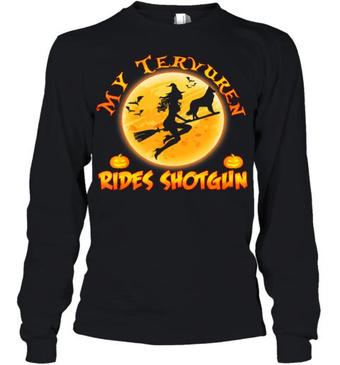 My Tervuren Dog Rides Shotgun Shirt Halloween Costume Gift Youth Long Sleeve
