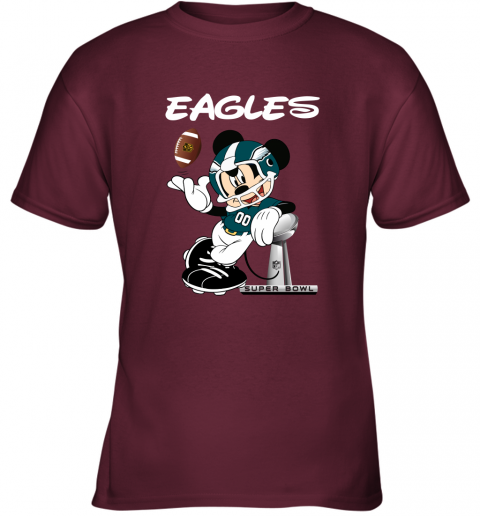 o8j8 mickey eagles taking the super bowl trophy football youth t shirt 26 front maroon