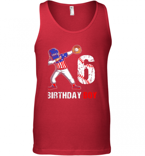 ql6o kids 6 years old 6th birthday baseball dabbing shirt gift party unisex tank 17 front red