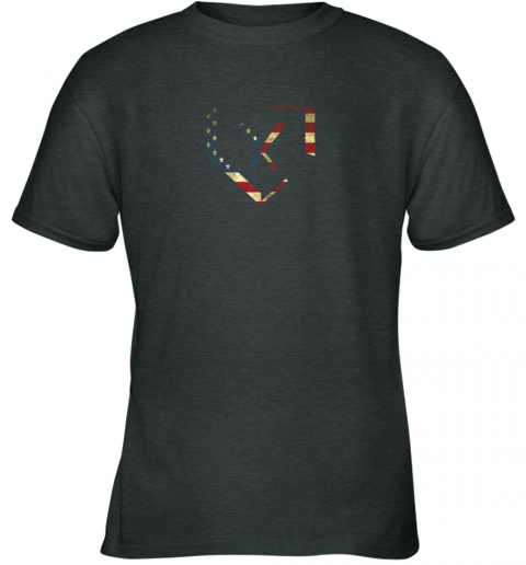 xjrk home plate baseball bats american flag shirt baseballin youth t shirt 26 front dark heather