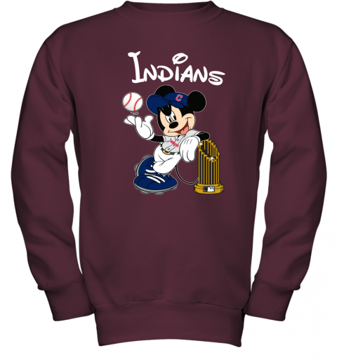 Cleveland Indians Mickey Taking The Trophy MLB 2018 Youth Sweatshirt