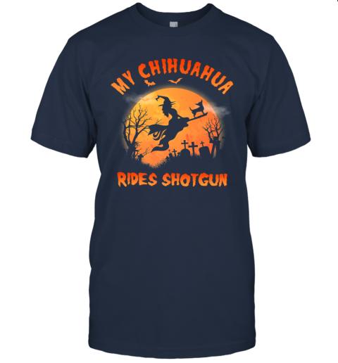 Chihuahua Rides Shotgun Funny Chihuahua Dog Lover Halloween Premium T-Shirt