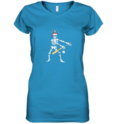 gwfs skeleton pirate floss dance with baseball shirt halloween women v neck t shirt 39 front sapphire