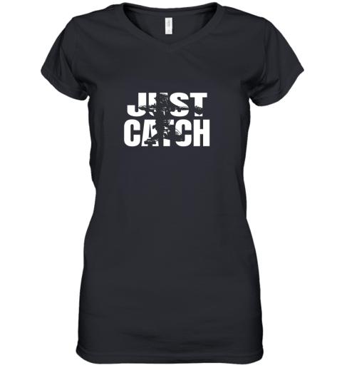 Just Catch Baseball Catchers Long Sleeve Shirt Baseballisms Women's V-Neck T-Shirt