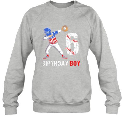 qcpt kids 6 years old 6th birthday baseball dabbing shirt gift party sweatshirt 35 front sport grey
