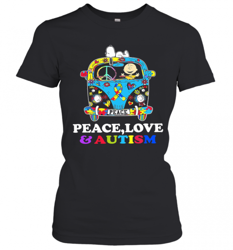Hippie Bus Snoopy And Charlie Brown Peace Love And Autism Women's T-Shirt
