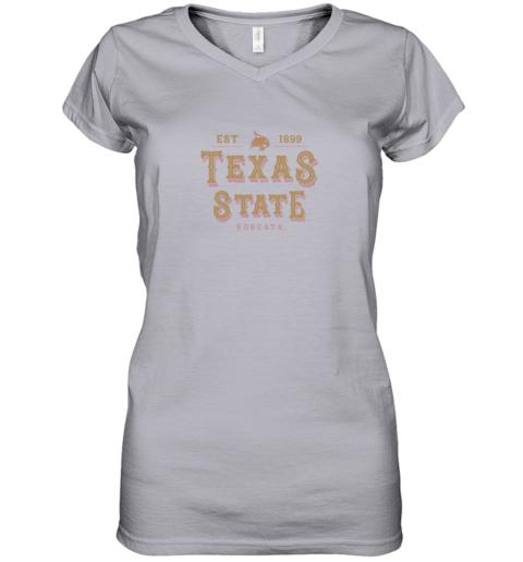 9btj texas state bobcats womens college ncaa women v neck t shirt 39 front sport grey