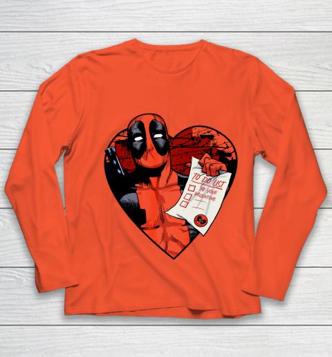 Marvel Deadpool Valentine To Do List Youth Long Sleeve 3
