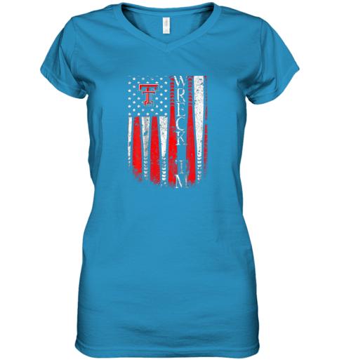 sqwq texas tech red raiders baseball flag team name women v neck t shirt 39 front sapphire