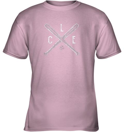 tm1y vintage cleveland baseball shirt cleveland ohio youth t shirt 26 front light pink