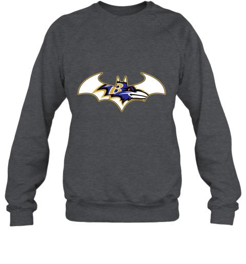 bul4 we are the baltimore ravens batman nfl mashup sweatshirt 35 front dark heather