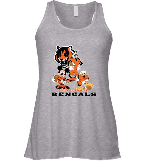 8ube mickey donald goofy the three cincinnati bengals football shirts flowy tank 32 front athletic heather
