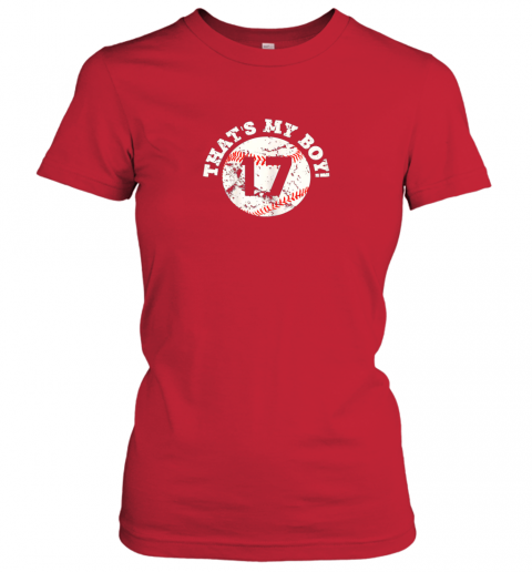 ro85 that39 s my boy 17 baseball player mom or dad gift ladies t shirt 20 front red